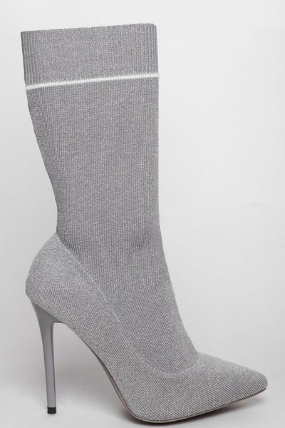 Silver Shimmer Tall Sock Boots-SinglePrice