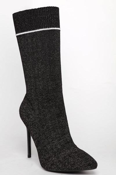 Silver Shimmer Black Tall Sock Boots-SinglePrice
