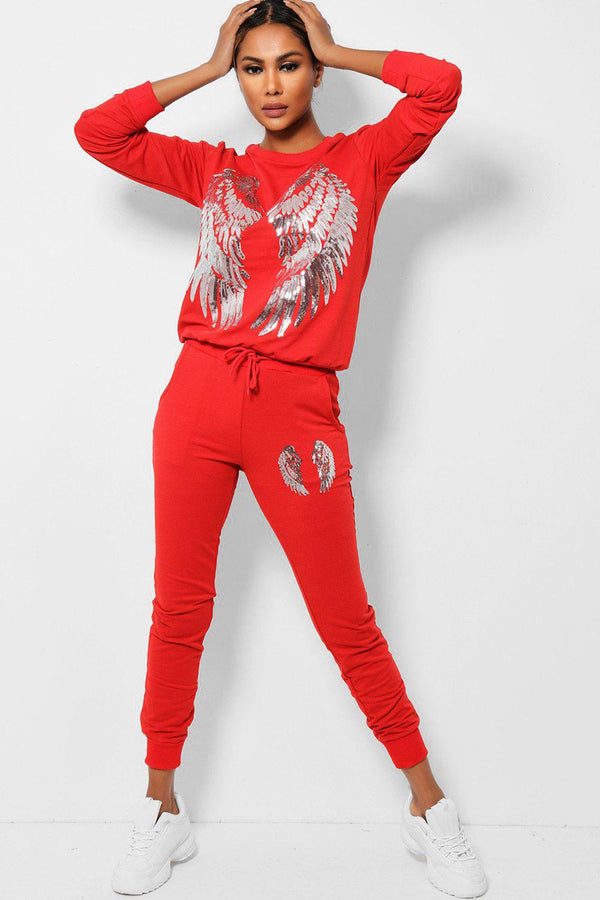 Sequin Wings Embellished Red 2 Piece Tracksuit-SinglePrice