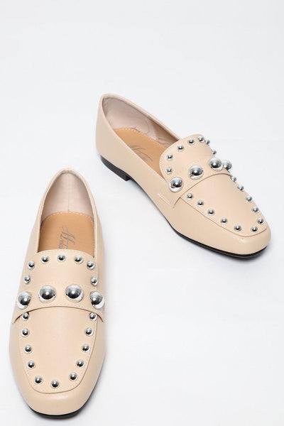 Round Metal Studs Beige Loafers-SinglePrice