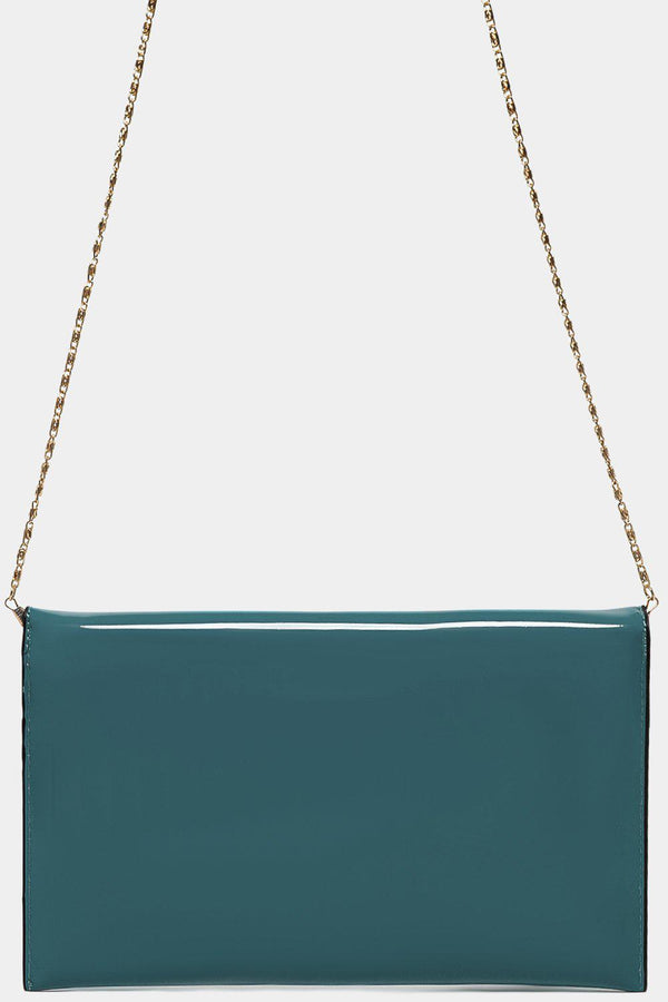 Teal Patent PU Small Envelope Clutch - SinglePrice