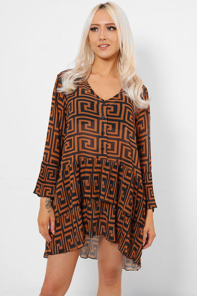 Brown And Black Pleated Layered Hem Swing Dress-SinglePrice