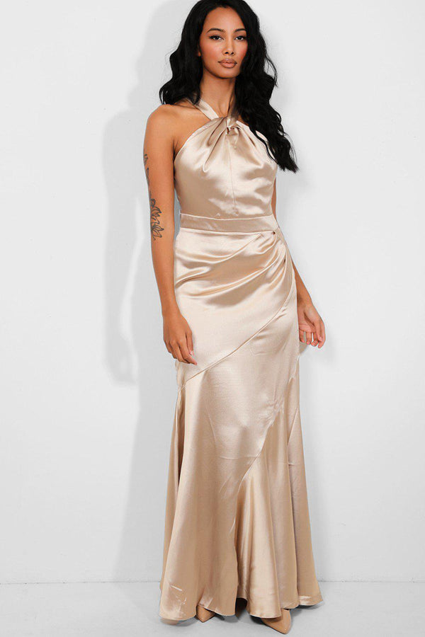 Beige Satin Twisted Halterneck Fishtail Maxi Dress - SinglePrice