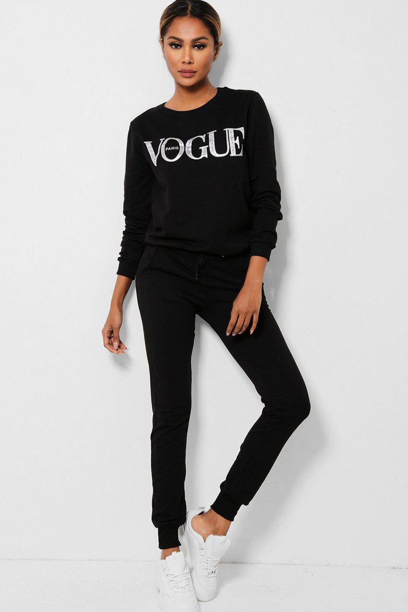Black Slogan Front Cotton Blend 2 Piece Tracksuit-SinglePrice