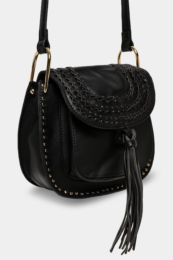 Black Tassel Braided Flap Saddle Bag - SinglePrice