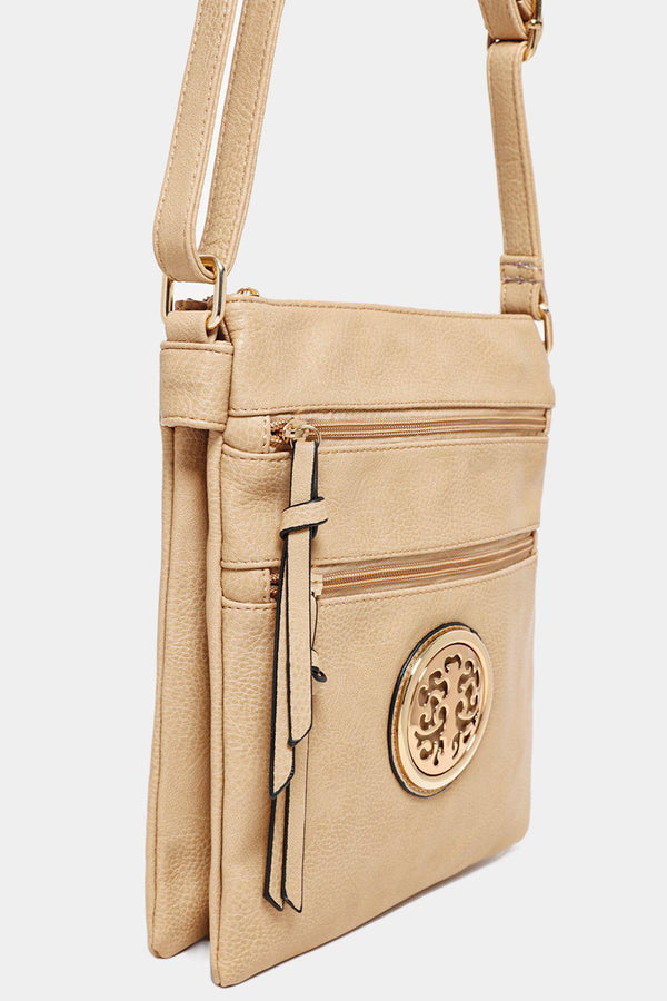 Beige Tree Logo Twin Compartment Tall Messenger Bag - SinglePrice