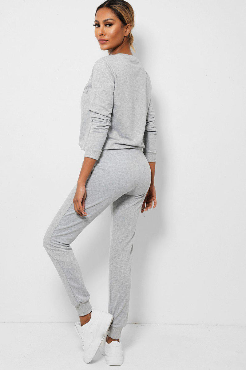 Grey Slogan Front Cotton Blend 2 Piece Tracksuit-SinglePrice