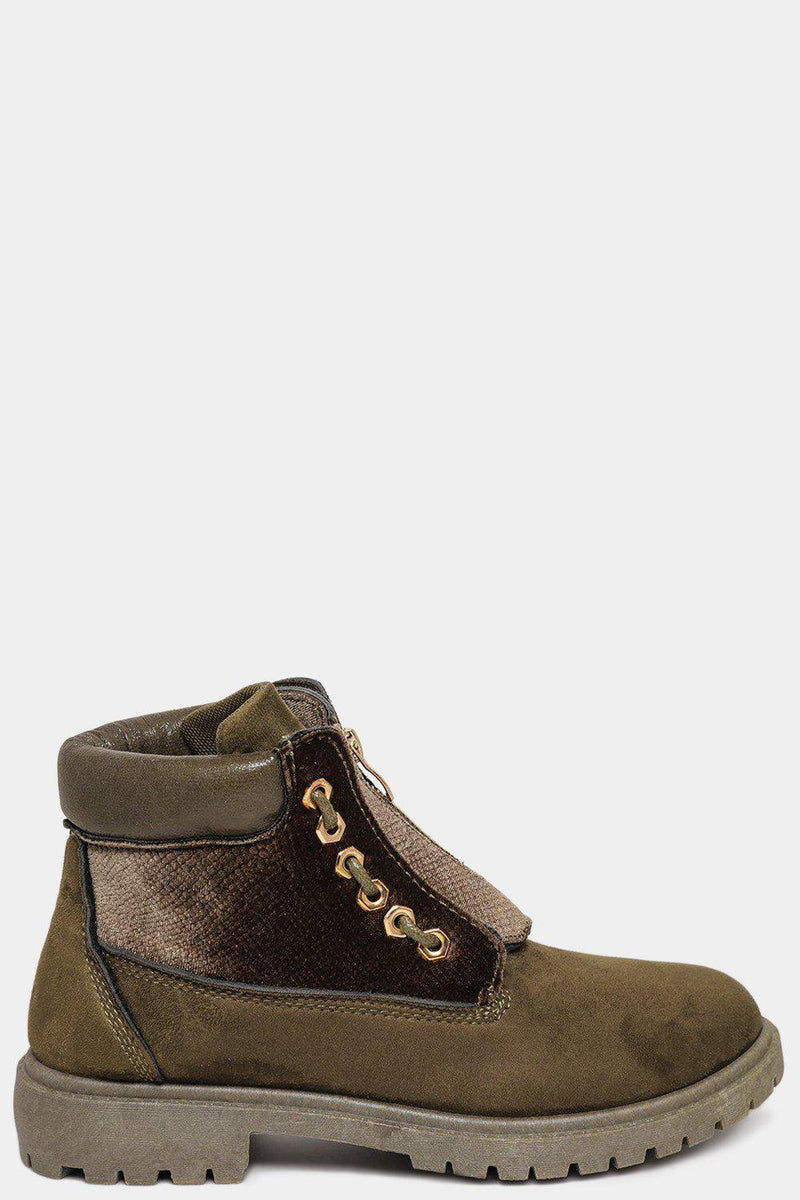 Gold Eyelets Details Velvet & Suedette Army Green Boots - SinglePrice