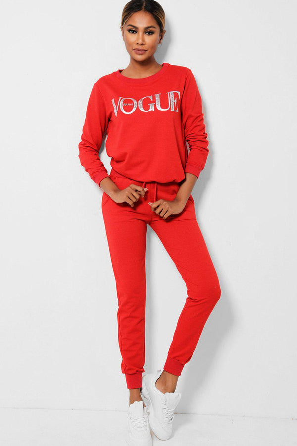 Red Slogan Front Cotton Blend 2 Piece Tracksuit-SinglePrice