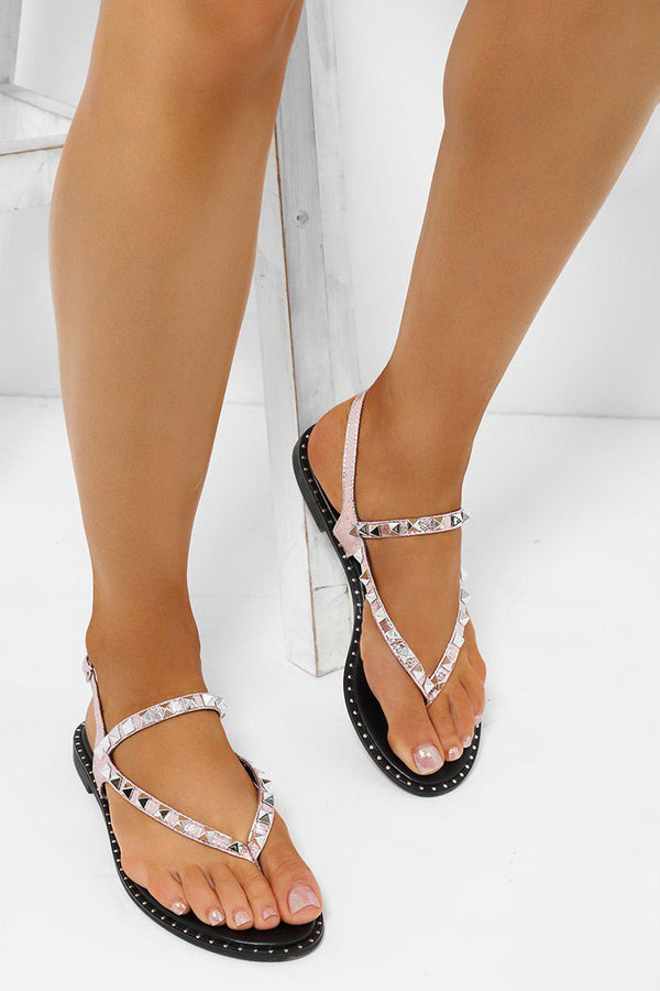 Pink Studded Toe Post Sandals-SinglePrice