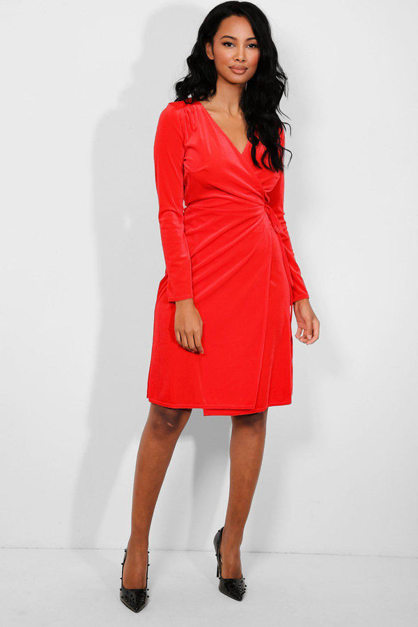 Red Velour Wrap Dress