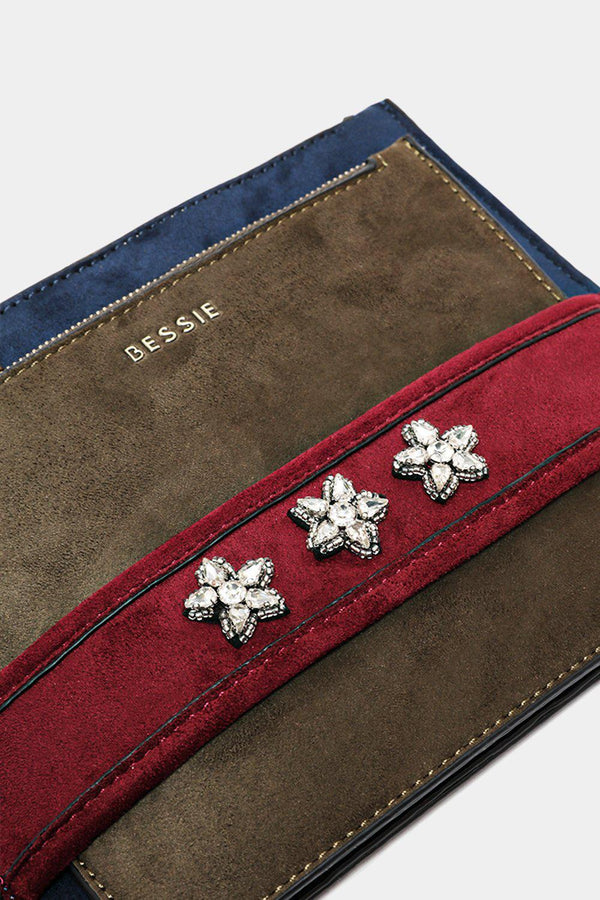 Blue Crystal Flowers Embellished Envelope Clutch Bag-SinglePrice