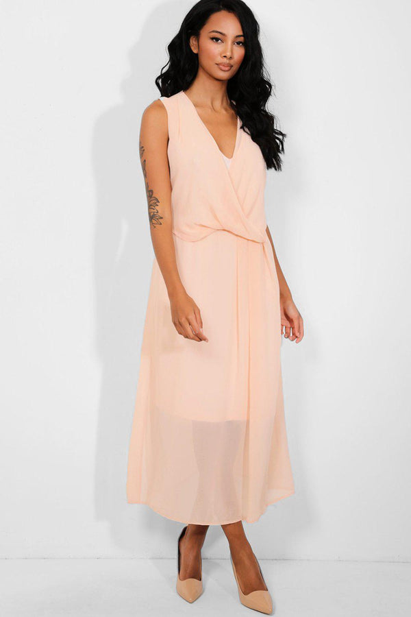 Peach Chiffon Wrap Draped Dress - SinglePrice