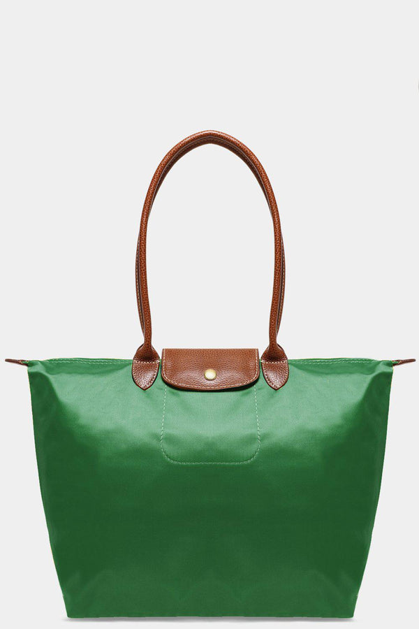 Green Shiny Finish Large Foldable Shopper Bag-SinglePrice