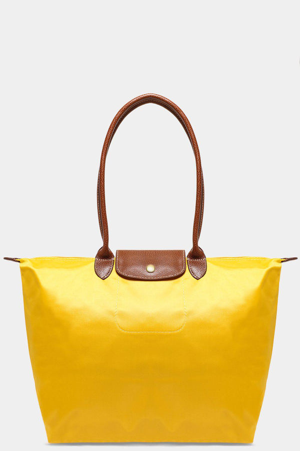 Bright Yellow Shiny Finish Large Foldable Shopper Bag-SinglePrice