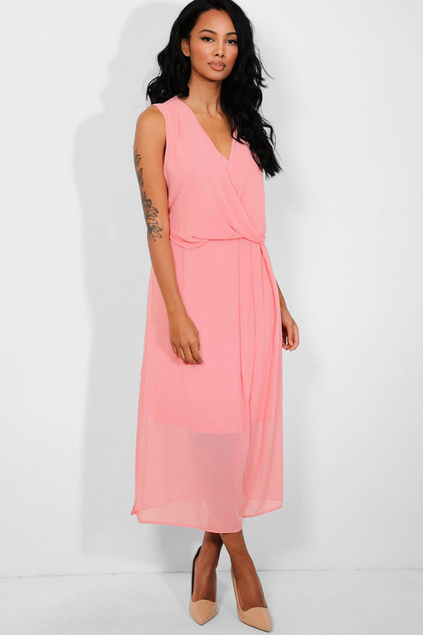 Coral Chiffon Wrap Draped Dress - SinglePrice