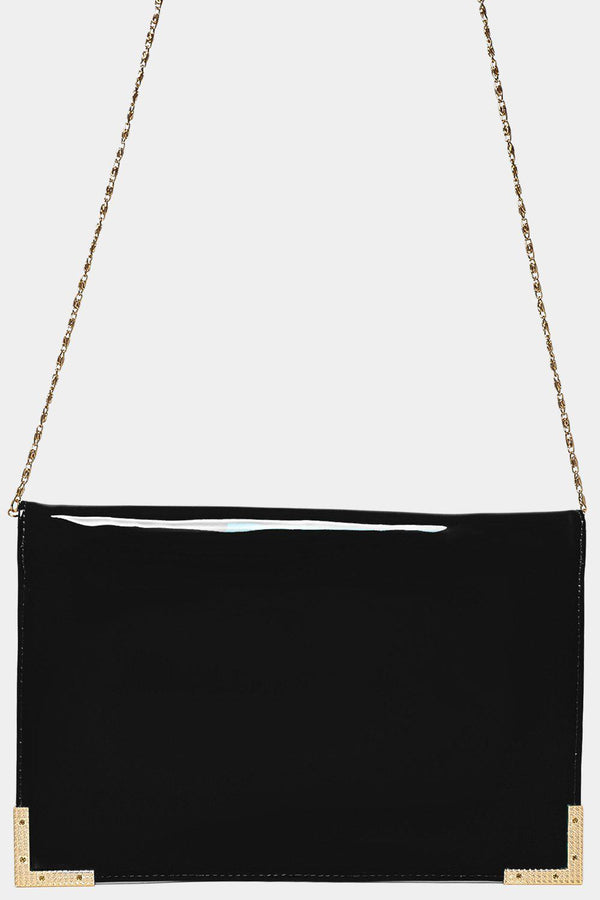 Gold Metal Trim Black Clutch-SinglePrice