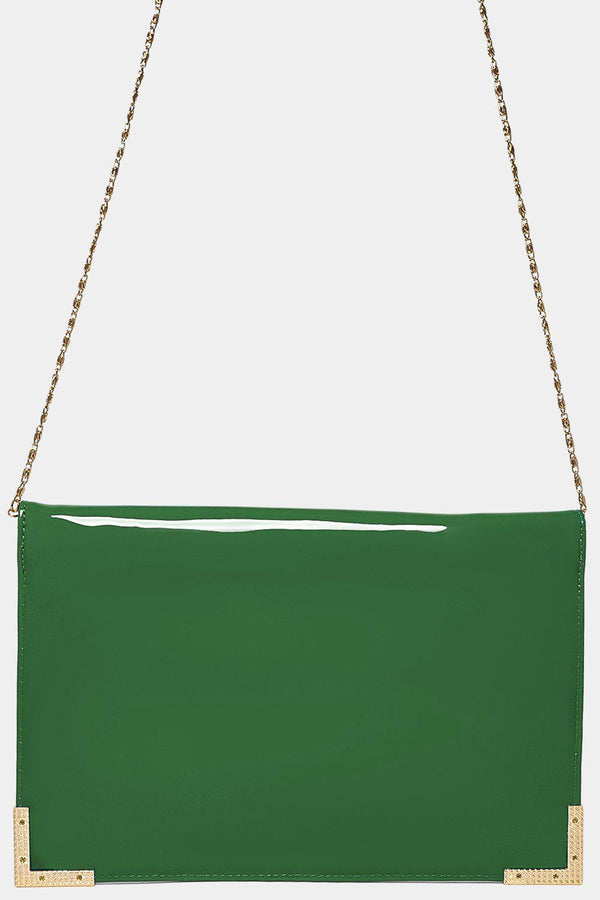 Gold Metal Trim Green Clutch-SinglePrice