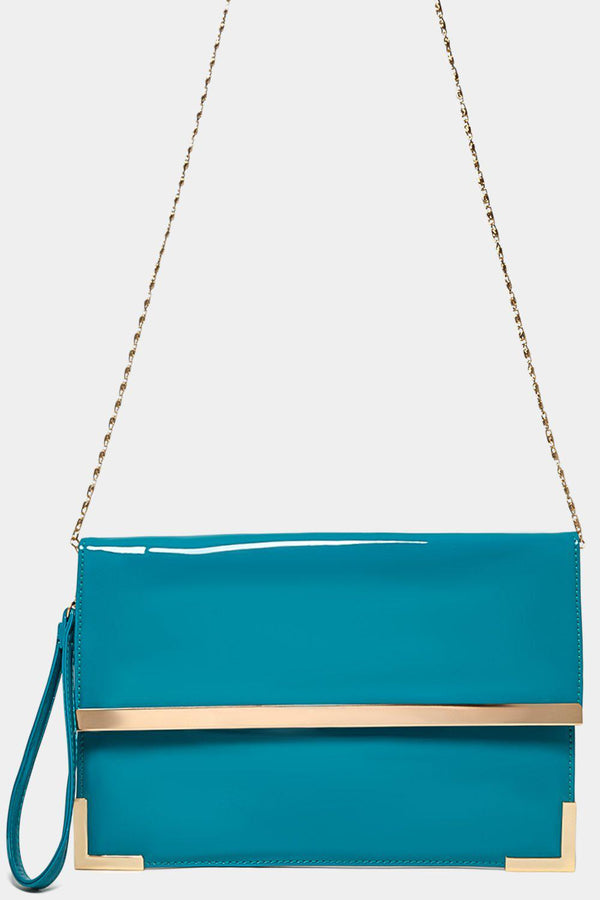 Gold Metal Trim Teal Clutch-SinglePrice