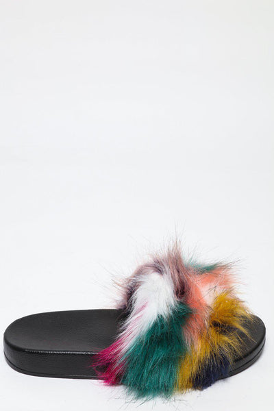 Multicolour Fur Strap Pink Sliders-SinglePrice