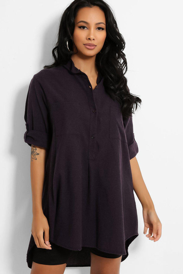 Purple Roll-Up Sleeves Cotton Blend Shirt - SinglePrice