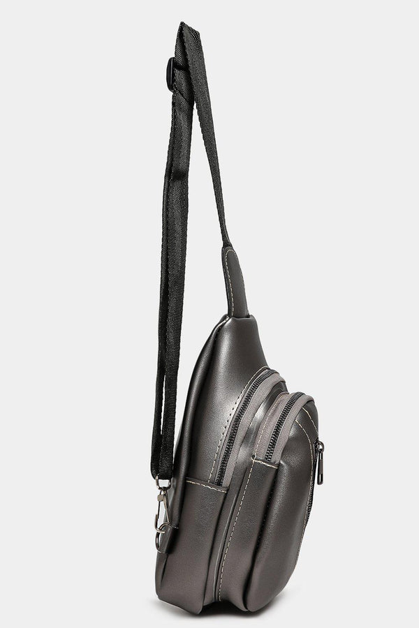 Asymmetric Zip Small Silver One Shoulder Backpack-SinglePrice