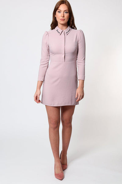 Slogan Embroidered Collar Dusty Pink Mini Dress-SinglePrice