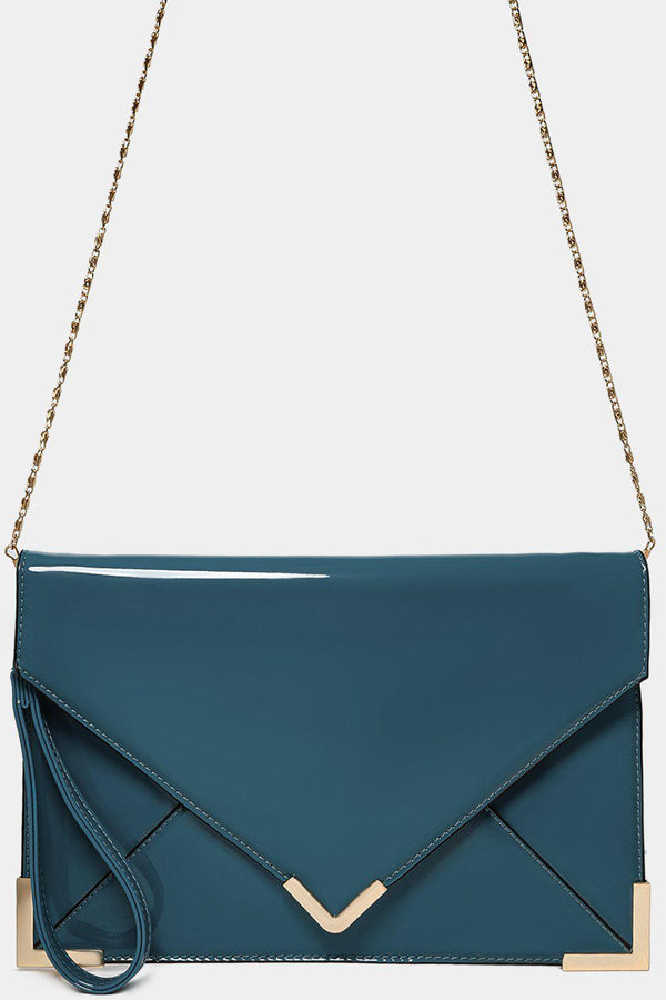 Patent Duck Egg Blue Classic Envelope Clutch-SinglePrice