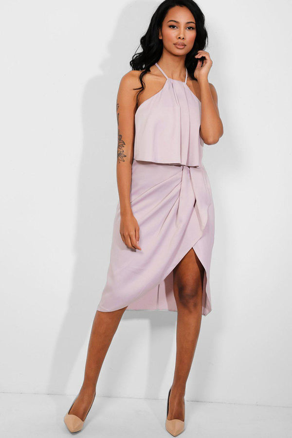 Lilac Draped To Side Halter Neck Midi Dress - SinglePrice