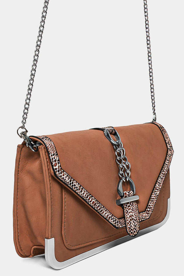 Python Print Trims Khaki Vegan Leather Crossbody Bag-SinglePrice