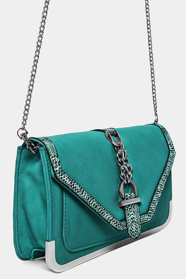 Python Print Trims Green Vegan Leather Crossbody Bag-SinglePrice