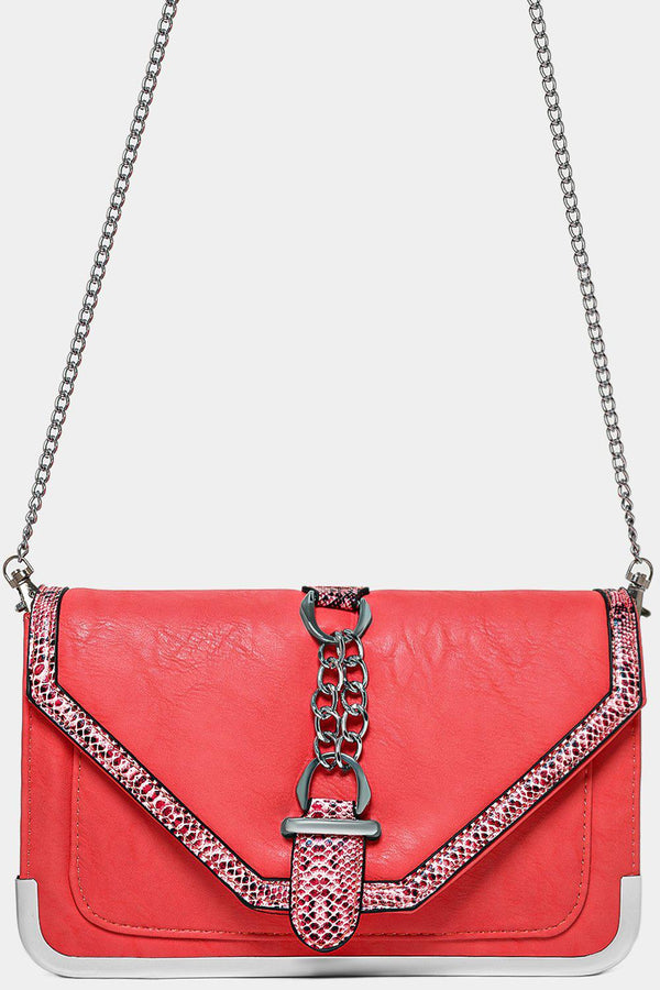 Python Print Trims Red Vegan Leather Crossbody Bag-SinglePrice