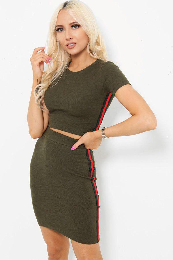 Tape Stripe Sides Khaki Skirt And Top Set-SinglePrice