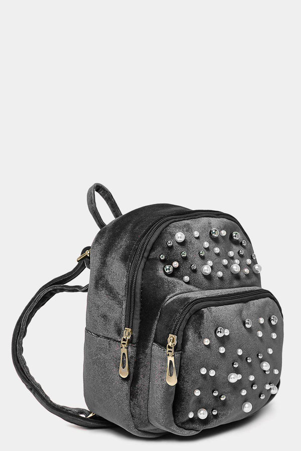 Grey Pearls And Metal Beads Front Velvet Mini Backpack-SinglePrice