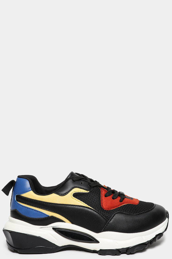 Multicolour Panels Black Wedge Trainers-SinglePrice