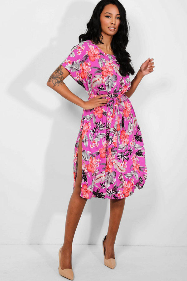 Purple Floral Print Self Belt Midi Dress - SinglePrice