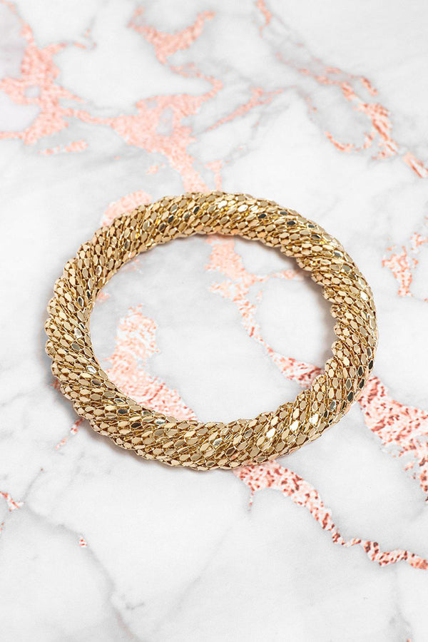 Twisted Gold Beads Large Bangle-SinglePrice