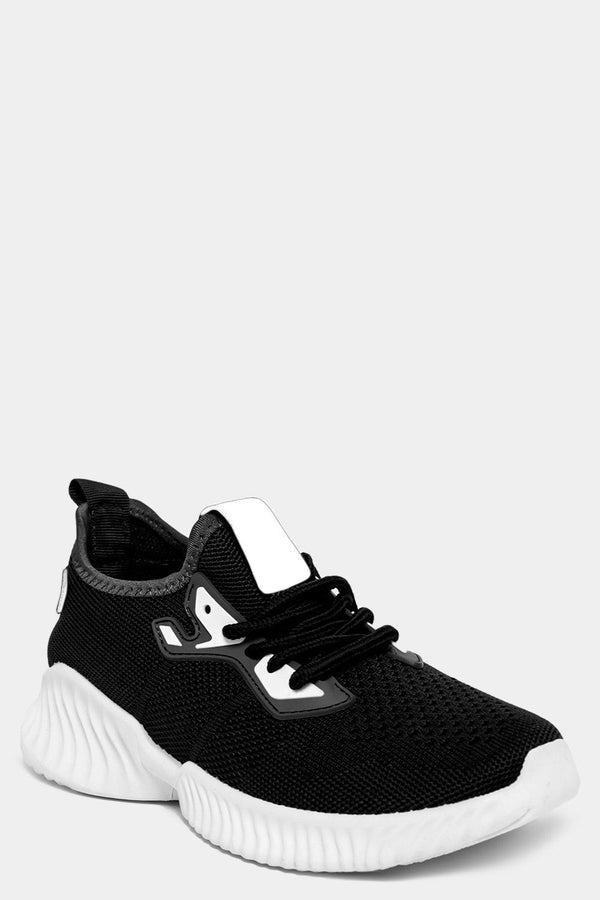 Black Knitted Slip On Trainers-SinglePrice