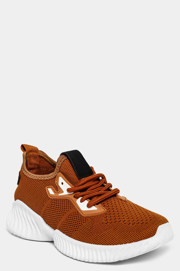 Camel Knitted Slip On Trainers-SinglePrice