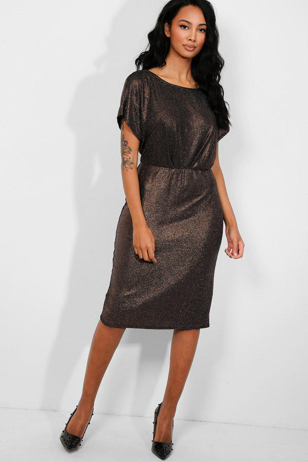 Shimmer Bronze Cut Out Back Midi Dress
