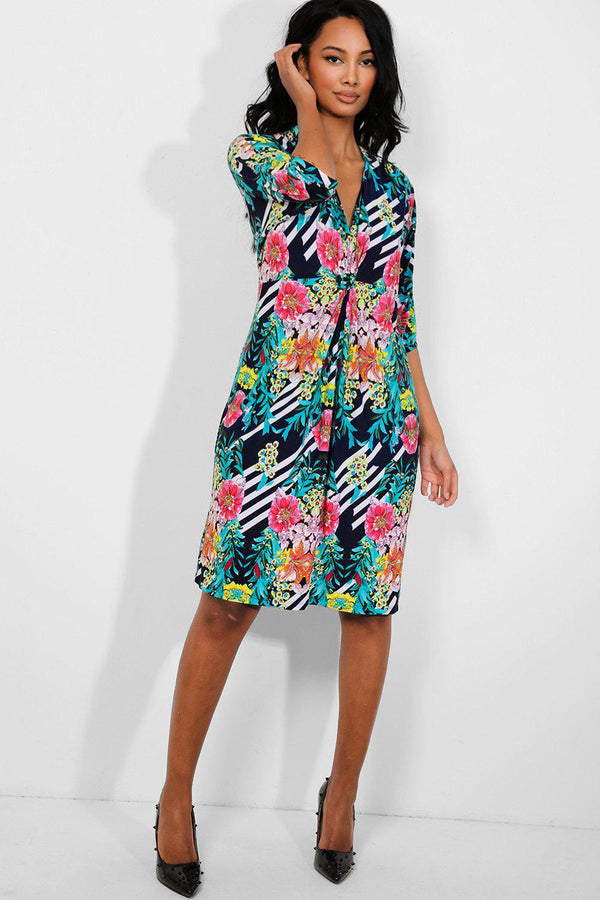 Multicolour Floral Print Twist Detail Slinky Dress