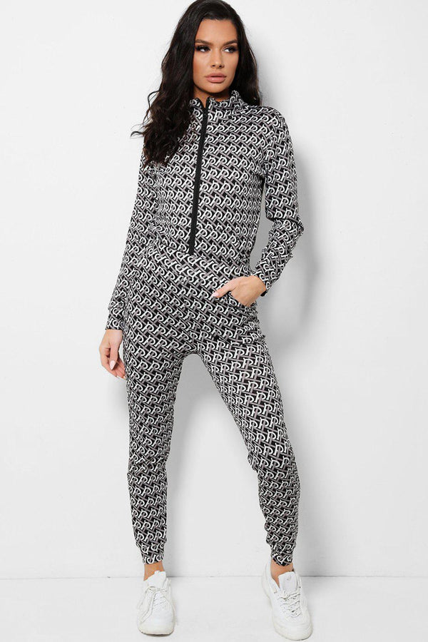 Black Woven Print Full Zip 2 Piece Tracksuit - SinglePrice