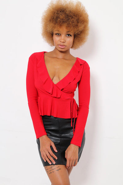 Faux Wrap Red Frilled Top-SinglePrice