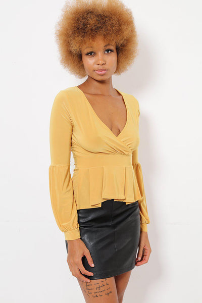 V-Neck Yellow Peplum Top-SinglePrice