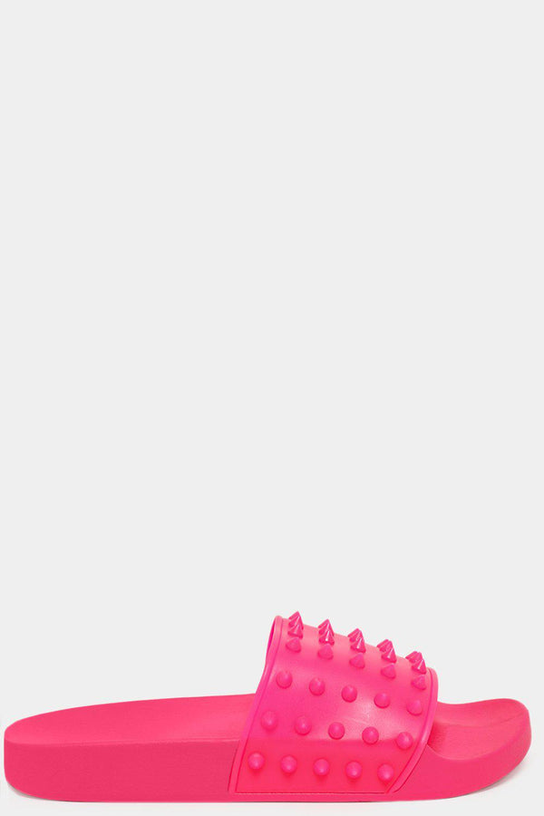 Fuchsia Spike Studded Worn Effect Sliders - SinglePrice
