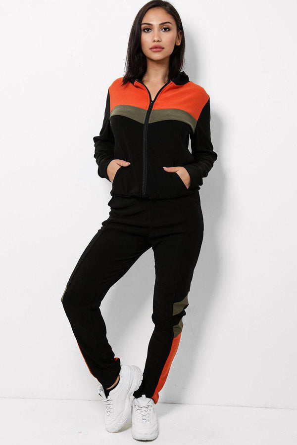 Orange Khaki Colour Block Black Hooded 2 Piece Tracksuit - SinglePrice