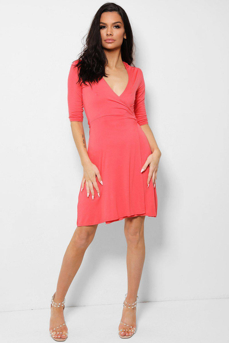 Deep Plunge Coral Wrap Dress - SinglePrice