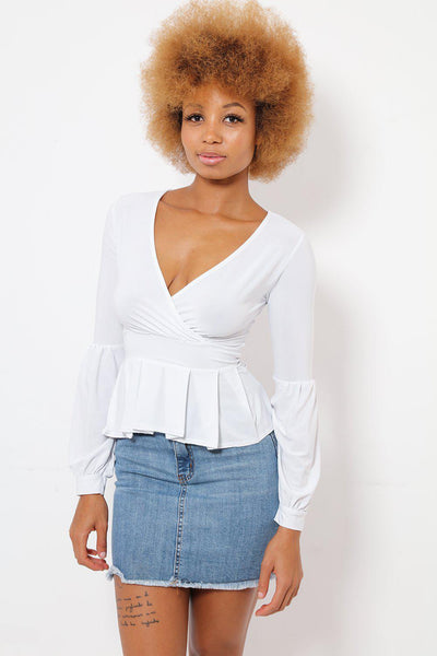 Faux Wrap White Suedette Frilled Top-SinglePrice