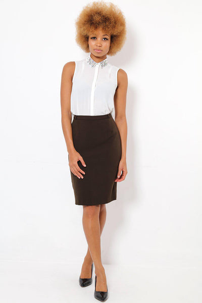 Dark Brown Smart Pencil Skirt-SinglePrice