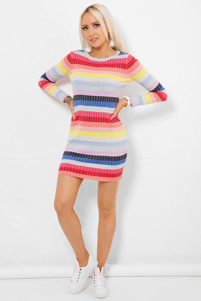 Colourful Stripes Knitted Mini Dress-SinglePrice